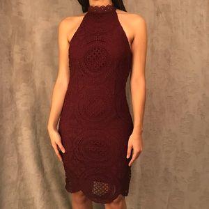Charlotte Russe Burgundy Crochet High Neck Dress